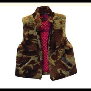 Nicole Miller fur and leather camo vest